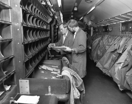 North Eastern' Travelling Post Office sorting van, British Rail, c.1987.