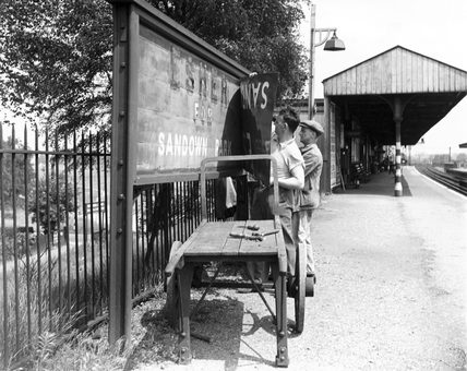 Esher station on the Southern Railway, Surrey, c.1940.