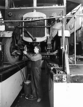 Female mechanic for Great Western Railway, (GWR) 1942.