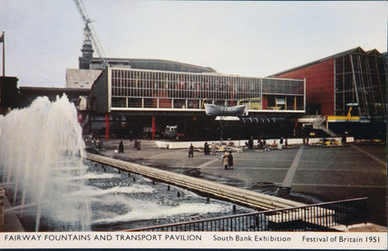 Postcard of Fairway Fountains & Transport Pavilion, Southbank Exhibition, Festival of Britain, 1951