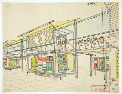 Watercolour sketch of trade stand at the Festival of Britain, 1951
