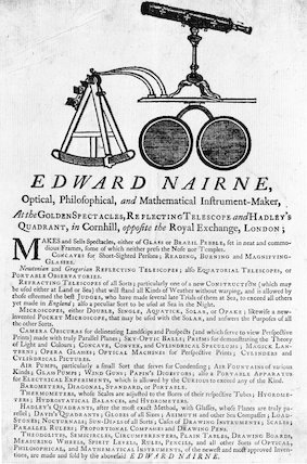 Trade Card of Edward Nairne.