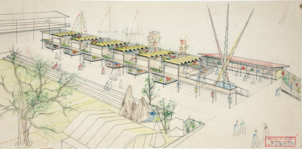 Watercolour sketch of spectator stand at the Festival of Britain, 1951