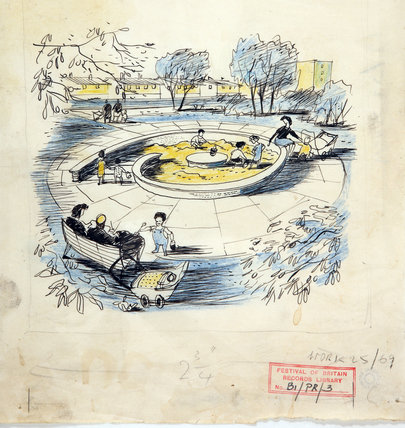 Playground and family area at the Festival of Britain, pen and wash sketch, Hugh Casson, 1948-1952