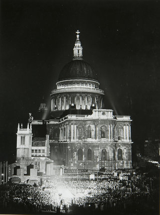 Night view of St Paul's Cathedral, May 1951