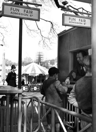 Turnstile admission gates to Festival Gardens Funfair Battersea Park, Exhibition of Britain, 1951
