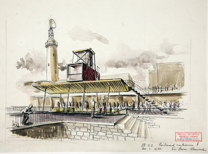 Pierhead Entrance to the Festival of Britain, 1950. Watercolour sketch