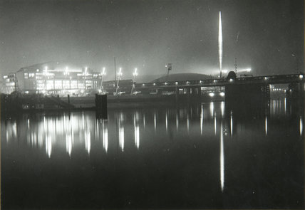 Exterior view of the Festival of Britain site, View from the North Bank, April 1951