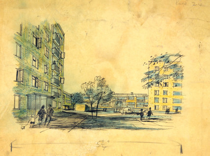 Social housing, pen and wash sketch, Hugh Casson, 1948-1952