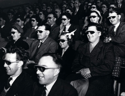 Theatre audience wearing 3D glasses, Festival of Britain, 1951