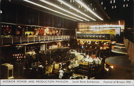 Postcard, Interior of the Power & Production Pavilion, Festival of Britain, 1951