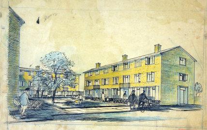 Social housing, pen and wash sketch, Hugh Casson, 1948-1952