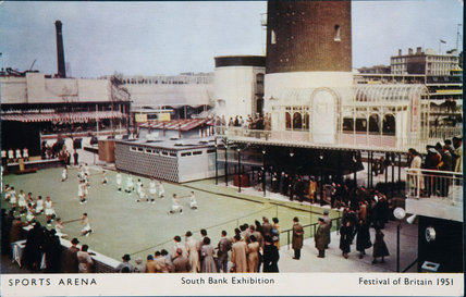 Postcard of the Sports Arena, Southbank Exhibition, Festival of Britain, 1951