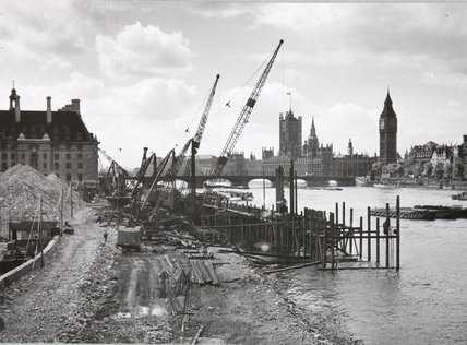 River bank construction by Westminster Bridge, 21 May,1949