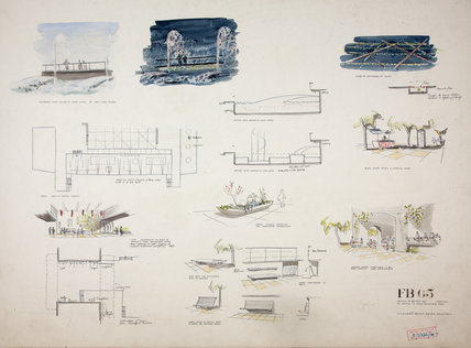 Main concourse sketches for the Festival of Britain, 1951. HT Cadbury Brown
