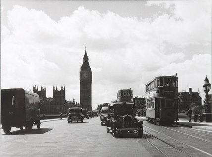 Westminster Bridge with taxis & trams, May 12th, 1949