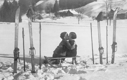 Winter's cold holds no terrors for this young couple.