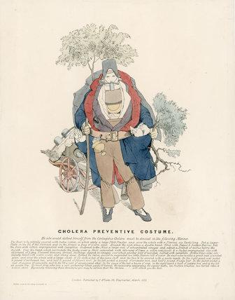 Cholera Preventive Costume', print, England, 1832.