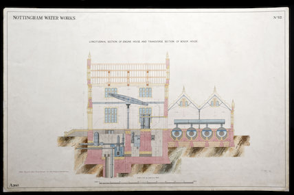 Scale drawing of Nottingham Water Works Engine House, England, 1850s.