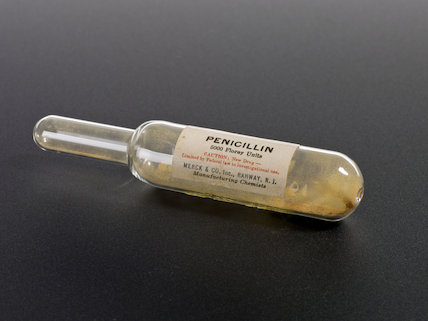 Penicillin podwer in glass tube, United States, 1943.