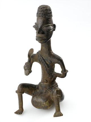 Bronze statue showing elephantiasis of the scrotum, Nigeria, 19th century.