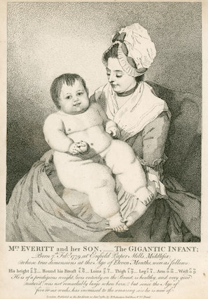 Mrs. Everett and her son - The gigantic infant', print, engraving, London, 1780.