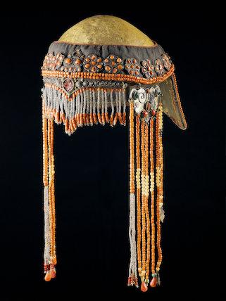 Ceremonial headdress with a human skull, Nepal, 19th century.