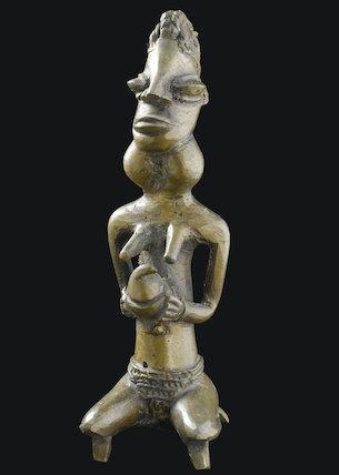 Bronze female statue, Nigeria, 19th century.