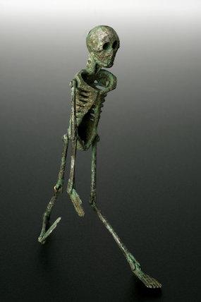 Memento mori, miniture skeleton. Roman, 199 BCE - 500 CE.