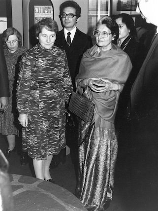 Dame Margaret Weston (Director of Science Museum) and MRS Gandhi at the opening of Science in India. Science Museum, 1982.