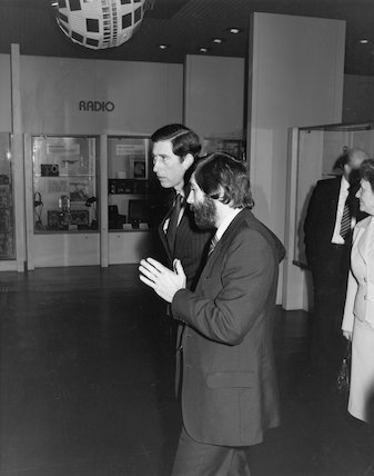 Prince of Wales, DR John Griffiths after the opening of Telecommunications gallery, Science Museum, 1983
