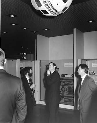 Dr Griffiths, Prince of Wales and Dr J. Becklake at opening of Telecommunications gallery, Science Museum, 1983.