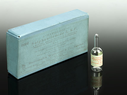 Trial cardboard carton and bottle used for   Hypoloid   sulphanilamide treatment, London, England, 1938-1940.