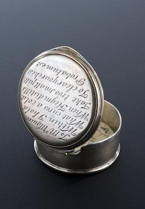 Silver pill box, Ireland, early-18th century.