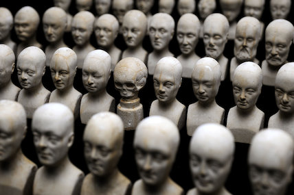 Set of 60 miniature heads used in phrenology, England, 1831.