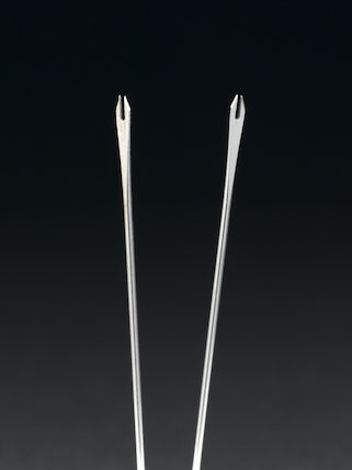 Two bifurcated needles used for smallpox vaccination, Europe, 1968.