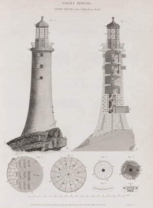 Light House on the Eddystone Rock: Rees' Cyclopaedia