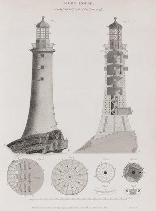 Light House on the Eddystone Rock: Rees' Cyclopaedia