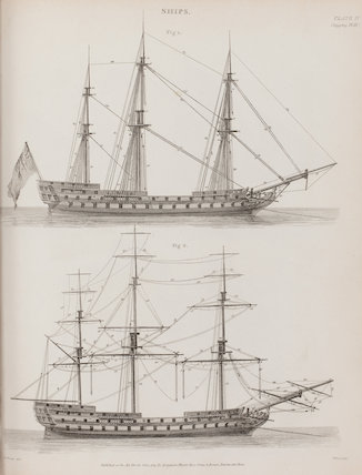 Illustrations of ships and their rigging.