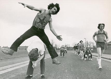 Students leapfrogging