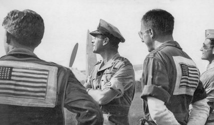 Lord Mountbatten meeting U.S. fighter pilots