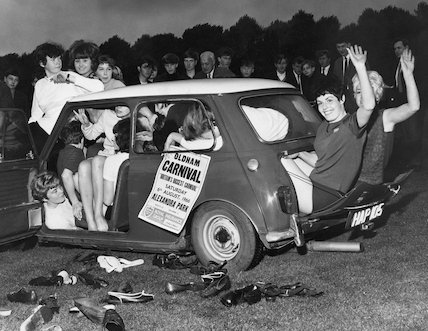 Oldham girls crowd into a Mini