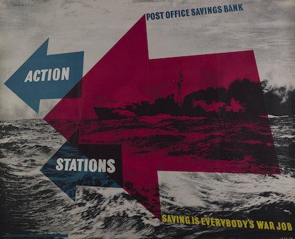 Action stations - saving is everybody's war job. Post Office Savings Bank - 1944