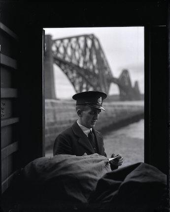A postman at Forth Bridge - 1934