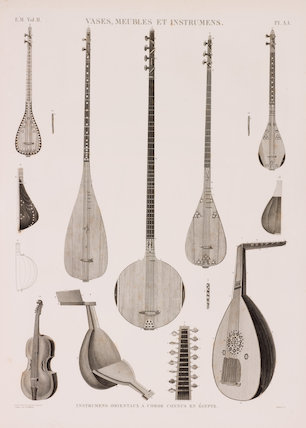 A series of illustrations of Easten stringed instruments known in Egypt.