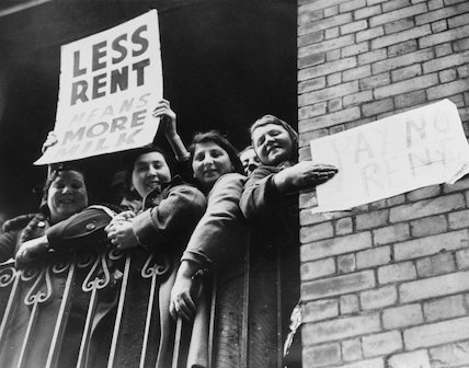 A group of women protesting rent prices.