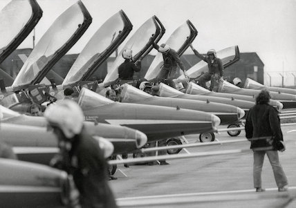 Red Arrows at the Hawker-Siddeley airfield at Woodford, Cheshire.