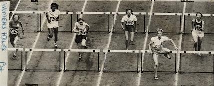 Mrs Blankers-Koen hurdling, 1948