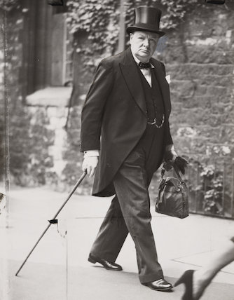 Winston Churchill arriving for prayer service at Westminster Abbey, 1940