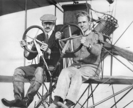 Glenn Curtiss (left), early American aviator and aircraft manufacturer - c1910